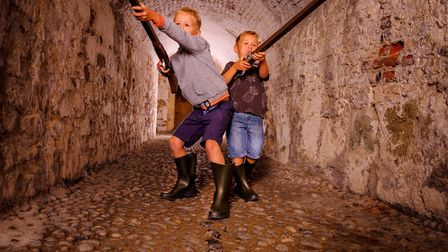 Playing soldiers in the tunnels at Deal Castle (photo: Jim Holden for English Heritage)