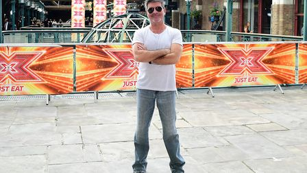 Simon Cowell attending X Factor filming at Tobacco Dock, Wapping Lane, London. Photograph: Ian West/