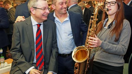 Headmaster Simon Hyde, guest speaker Brian Redpath and Sixth Form student saxophonist Alex Clarke