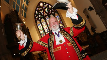 Town crier, Peter Powell at St Mary's Church, Lymm