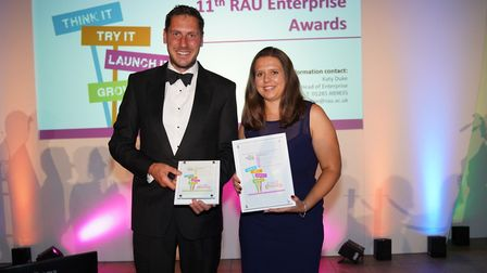 (L-R): Grand Idea runner up Alex Crawley (pictured in black tie) and winner Alex Dunn (pictured in d