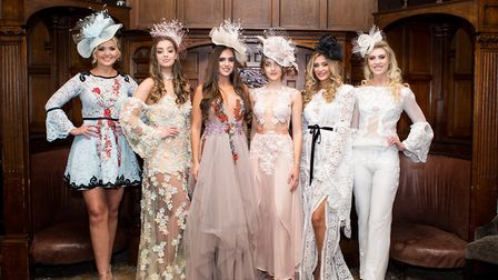 The fabulous team of models wearing Sheshea and Katie Mangan millinery