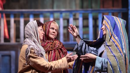 Clare Vickers (right) as Mary Mother in the Chester Mystery Plays