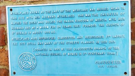 Aethelflaed plaque at St Oswald's Priory, Gloucester