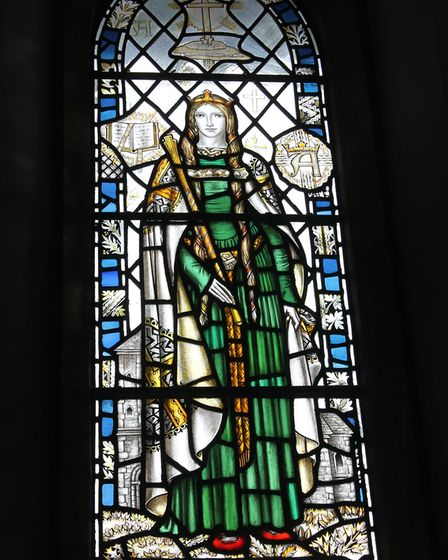 The stained-glass lancet window depicting Aethelflaed in St Andrew's Church, Churchdown