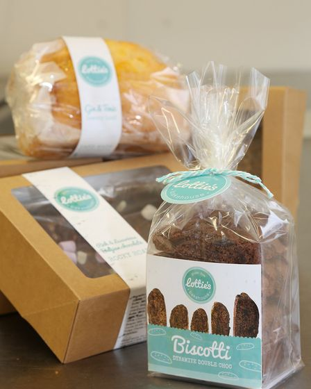 Lottie's Bakehouse products including Gin and Tonic Lemony Loaf and Dynamite Double Choc Biscotti