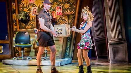 Rita Simons as Paulette Bonafonté with hunky delivery man, Kyle, played by Ben Harlow Credit: Rober