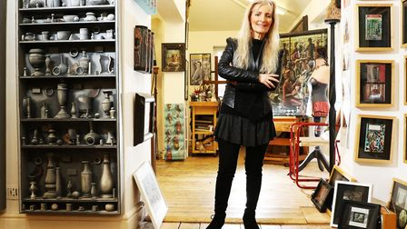 Artist PJ Crook at her home and studio in Bishop's Cleeve