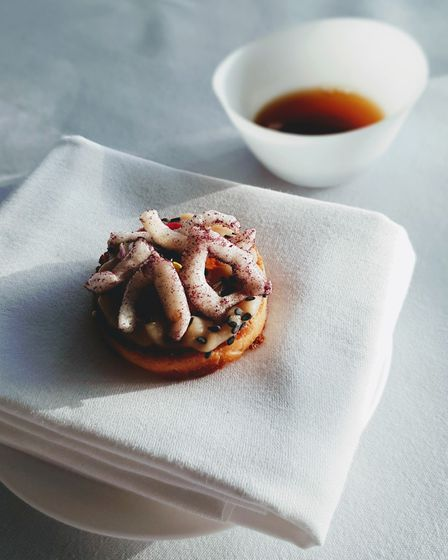 The Rabbit in the Moon: Hot & Sour Beef Consommé with Miso Onion & Sesame Brioche