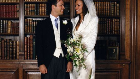 Henry & Lili on their wedding day, in the library at Sudeley Castle in 1998