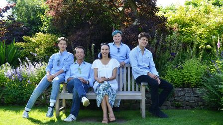 Henry and Lili with their three sons in the Secret Garden at Sudeley Castle June 2018
