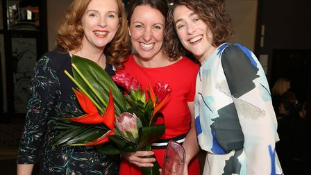 Celebrating; Claire-Marie Boggiano, Eve Holt (winner of the 100 Award) and Katie Finney