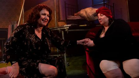 Gillian McCafferty and Larissa Hunter in The Barn Theatre's The Rise and Fall of Little Voice