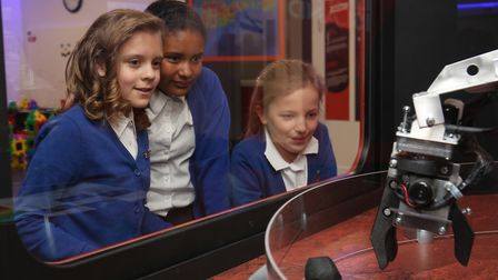 Pupils of Roebuck Primary School, Stevenage, observe the technology of the Airbus Foundation Discove