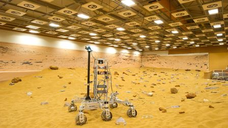 Rover Bryan tackling the terrain in the Airbus Mars yard (photo: Emma Underwood/Airbus Defence and S