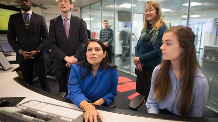 Home secretary Priti Patel meets students and staff at Imperial College London in South Kensington. Photograph: Stefan Rousse...