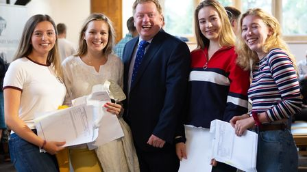 Headmaster, Shaun Fenton, celebrates record A Level results with students (Photo by Rich Turner)