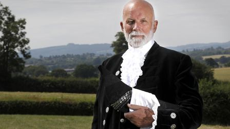 Charles Martell, the High Sheriff of Gloucestershire, a farmer, cheesemaker and distiller, wearing h