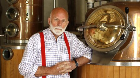 Charles Martell, in his distillery, a state of the art copper pot-still installed to distil fermente