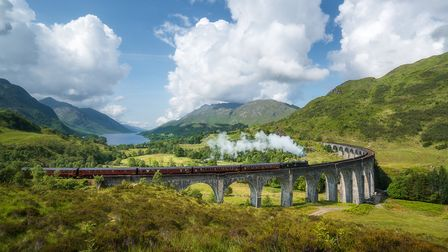 The Jacobite Steam Train, famous from the Harry Potter films, goes through splendid Scottish scenery