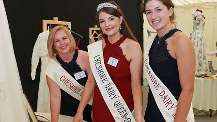 The current line-up; 2018 Dairy Queen, Hannah Goodwin (centre) with Dairy Maids, Becky Holman (left