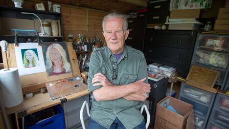Clive Lennard in his garden shed studio (photo: Manu Palomeque)