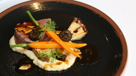 Slow Cooked Fillet of Beef, Celeriac and Baby Carrots, Pickled Walnuts and Anchovy