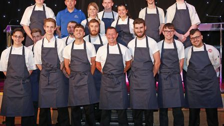 Executive Chef, Graham Tinsley (front, centre) with sous chef, Gary Evans (to his right), head chef,