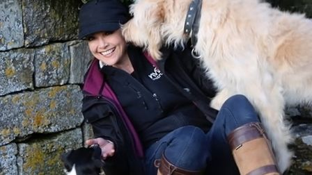 Emma Samms with Chester and Willis