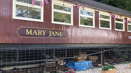 The renovated railway coach at Tetbury Goods Shed