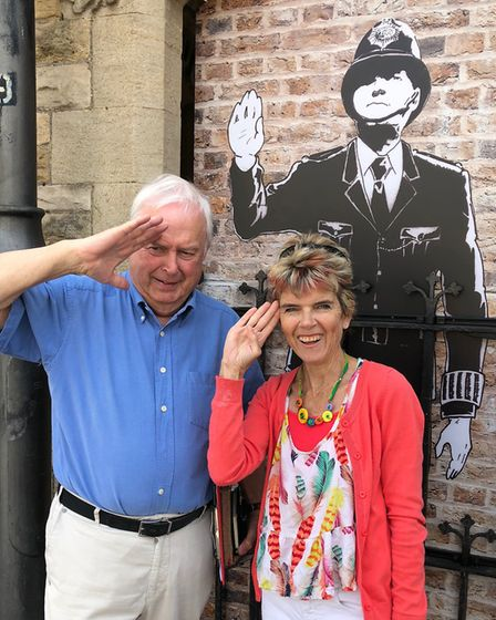 Tracy with town councillor Stephen Hirst outside Tetbury Police Museum & Courtroom