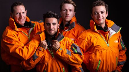 Atlantic Discovery team, with Isaac at front, in their heavy weather gear (photo: Penny Bird)