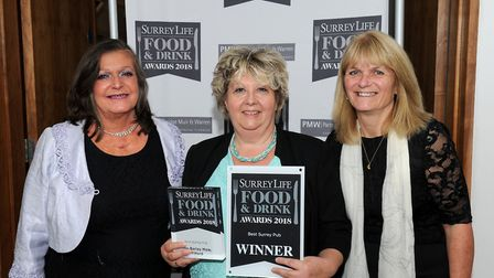Diana Roberts from sponsor Guildford Tourism with winner Deb Glover from The Barley Mow, Tilford, an