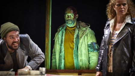 The spectre at the feast: James Robinson (Lennox), Patrick Robinson (Banquo) and Rachel Sanders (Ros