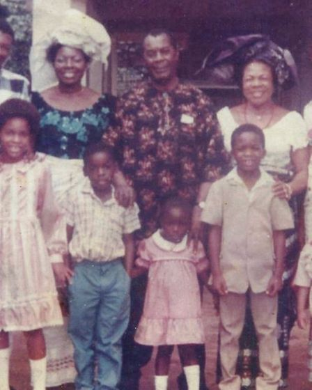 Growing up in Nigeria with her grandparents and mother. Cynthia is in the middle