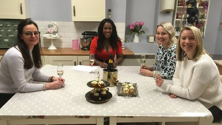 In her Bengeo studio kitchen with guests for her online talk show Cynthia Stroud Meets