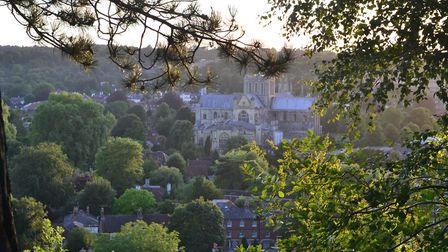 Winchester from St Giles Hill in the early evening sun