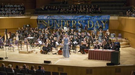 Head Girl Florence Bradshaw delivers her speech at Manchester's Bridgewater Hall