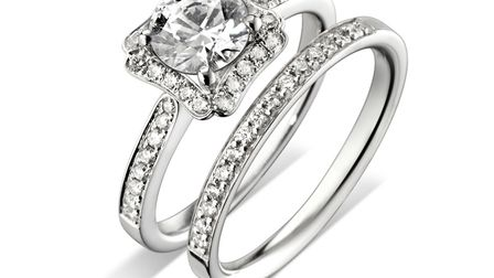 Wedding band and engagement ring