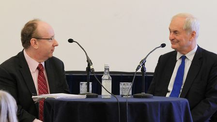 Lord Finkelstein and Paul Gambaccini on stage at the Blenheim Literary Festival in 2015 (c) Antony T
