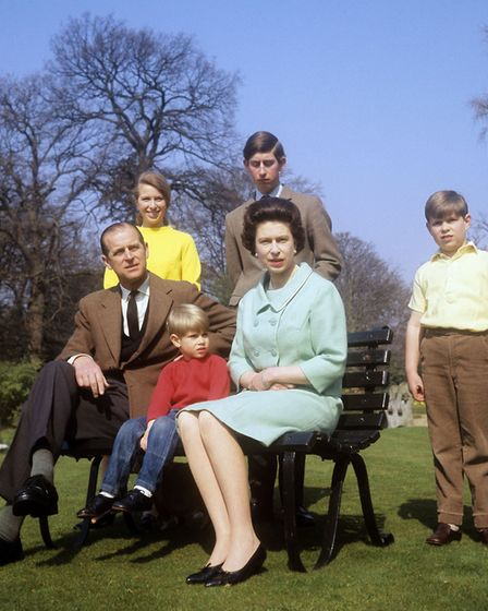 The Royal Family in the grounds of Frogmore House, Windsor. (l-r) Duke of Edinburgh, Princess Anne,