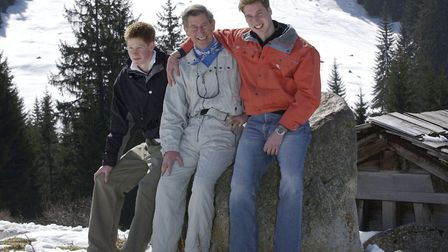 Prince Charles in March 2002 with Princes William and Harry at a photocall in Klosters, Switzerland,