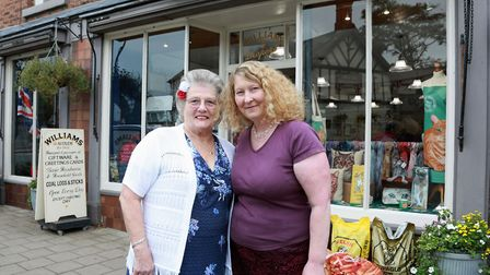 Owner, Judith Evans (right) and assistant, Olive Stretch outside Williams of Audlem