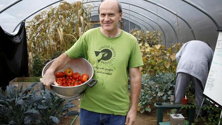 David Richards, one of the volunteers with the Stroud Valleys Project, at the charity's greenhouse i