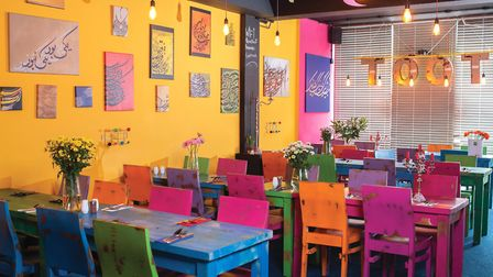 The brightly coloured interior of Toot! In Plymouth.