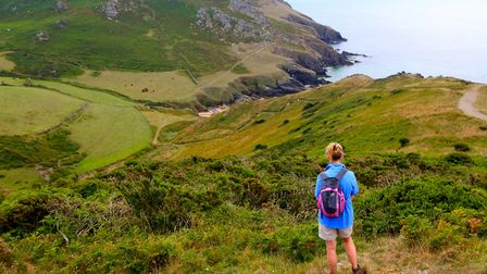 Admiring the scenery down to Soar Mill Cove
