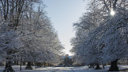 Dorfold Hall, near Nantwich, in the snow. Photo by Nick Hastings