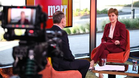 TV presenter Andrew Marr and First Minister of Scotland Nicola Sturgeon. Photograph: Jeff J Mitchell