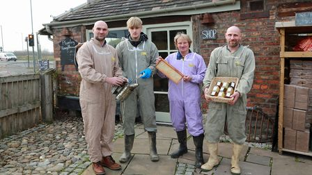 Jos Baxendell, Henry Sanctuary, Rick Baxendell and Henry Baxendell at Bax Bees *** Local Caption ***