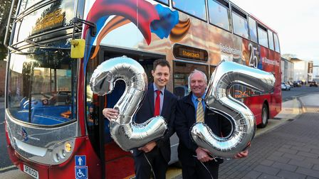 Rupert Cox, Managing Director of Stagecoach West with bus dirver Freddy Greeff (c) Anna Lythgoe